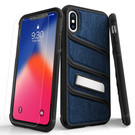 Zizo Bolt X Series Etui Pancerne do iPhone Xs / iPhone X ze Szkłem 9H na Ekran + Podstawka (Dark Blue/Black)