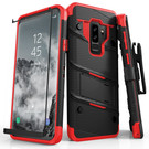 Zizo Bolt Cover Etui Pancerne do Samsung Galaxy S9+ Plus ze Szkłem 9H na Ekran + Podstawka & Uchwyt do Paska (Black & Red)