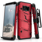 Zizo Bolt Cover Etui Pancerne do Samsung Galaxy S8+ Plus ze Szkłem 9H na Ekran + Podstawka & Uchwyt do Paska (Red/Black)