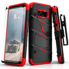 Zizo Bolt Cover Etui Pancerne do Samsung Galaxy S8+ Plus ze Szkłem 9H na Ekran + Podstawka & Uchwyt do Paska (Black/Red)