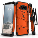 Zizo Bolt Cover Etui Pancerne do Samsung Galaxy S8 ze Szkłem 9H na Ekran + Podstawka & Uchwyt do Paska (Orange/Black)