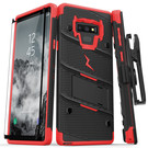 Zizo Bolt Cover Etui Pancerne do Samsung Galaxy Note 9 ze Szkłem 9H na Ekran + Podstawka & Uchwyt do Paska (Black & Red)