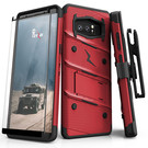 Zizo Bolt Cover Etui Pancerne do Samsung Galaxy Note 8 ze Szkłem 9H na Ekran + Podstawka & Uchwyt do Paska (Red & Black)