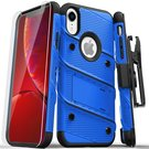 Zizo Bolt Cover Etui Pancerne do iPhone Xr ze Szkłem 9H na Ekran + Podstawka & Uchwyt do Paska (Blue & Black)