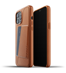 Mujjo Full Leather Wallet Case Etui Skórzane na Karty do iPhone 12 Pro Max (Tan)