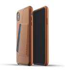 Mujjo Full Leather Wallet Case Etui Skórzane Na Karty do iPhone Xs Max (Tan)