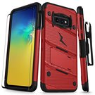 Zizo Bolt Cover Etui Pancerne do Samsung Galaxy S10e (Red/Black) + Szkło Hartowane Na Ekran
