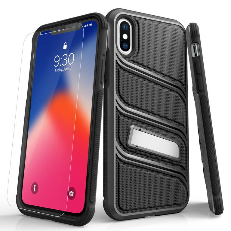 (EOL) Zizo Bolt X Series Etui Pancerne do iPhone Xs / iPhone X ze Szkłem 9H na Ekran + Podstawka (Gray/Black) (1)